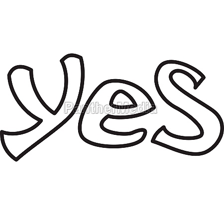 word yes icon outline style