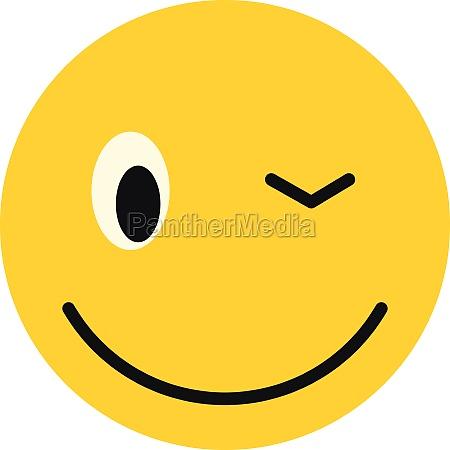 winking smiley icon flat style