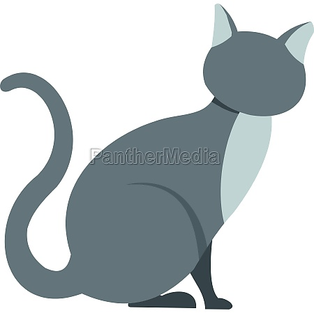 gray cat icon in flat style