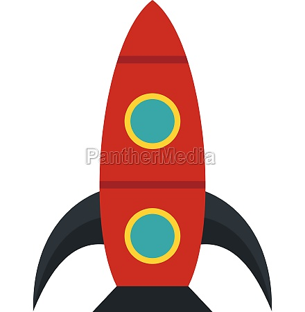 red rocket icon flat style