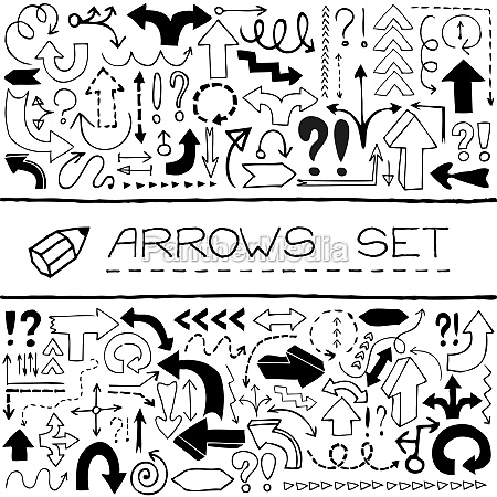 hand drawn arrow icons with question