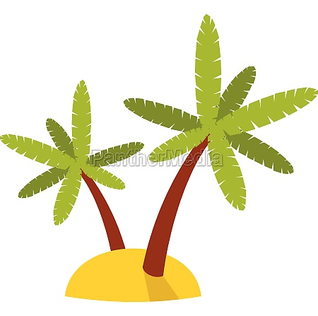 palm trees icon in flat style