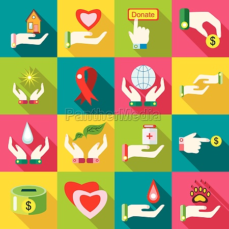 charity icons set flat style
