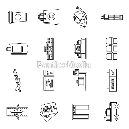 airport icons set outline style