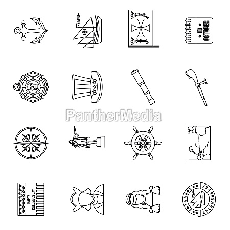 columbus day icons set outline style