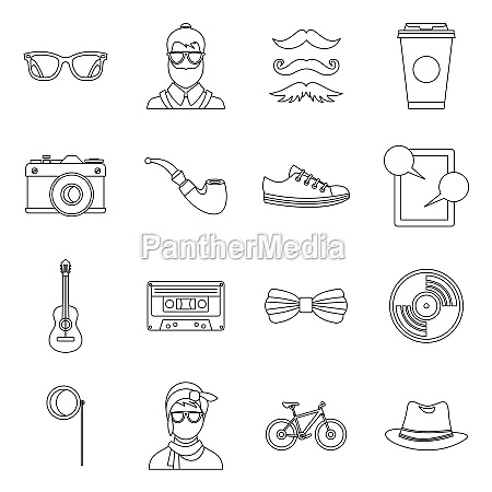 hipster icons set outline style