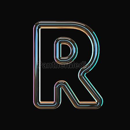 vivid color glass font letter r