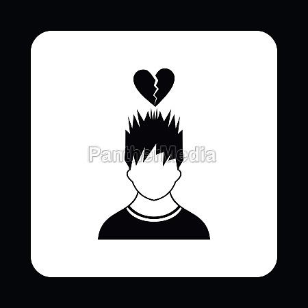 man and broken heart icon simple
