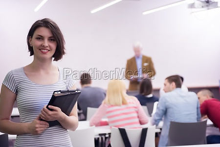 portrait of happy female student in