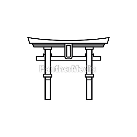 japan gate torii icon outline style