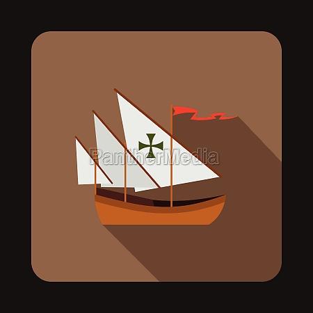 columbus ship icon flat style