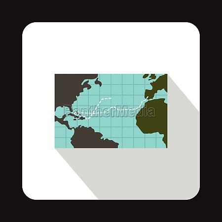 christopher columbus voyage map icon flat