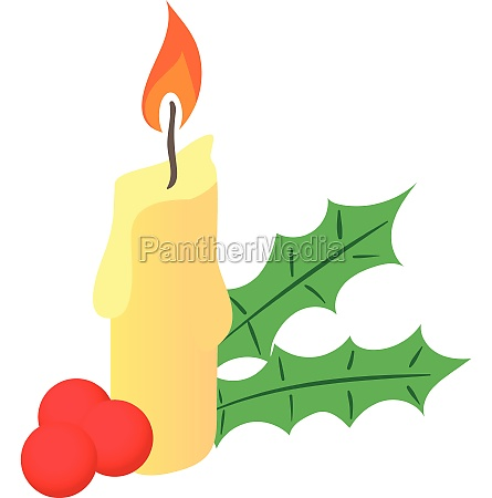 christmas candle and berries icon cartoon