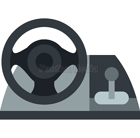 gaming steering wheel icon flat style