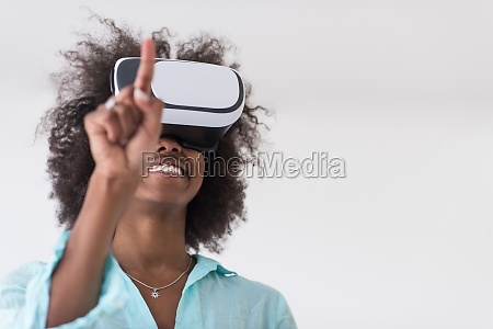 black girl using vr headset glasses
