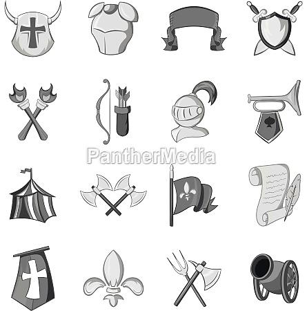 knight icons set black monochrome style