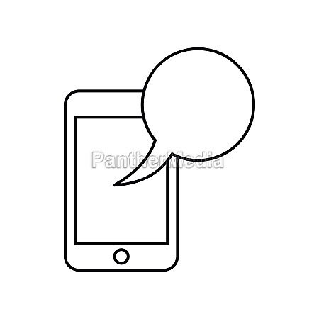 smartphone with speech bubble icon outline
