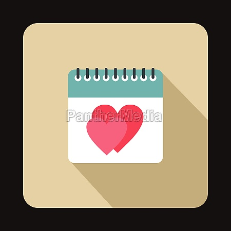 calendar with heart icon flat style