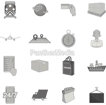 logistics icons set black monochrome style