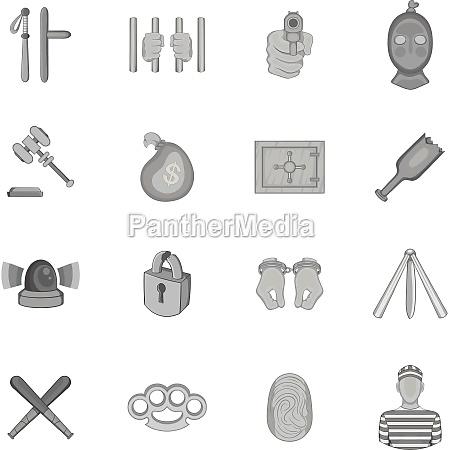 crime icons set black monochrome style