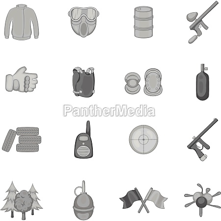 paintball icons set black monochrome style