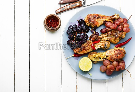 barbecued chicken drumsticks