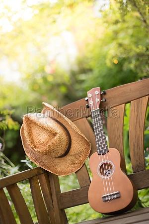 summertime ukulele with yellow sunglasses on