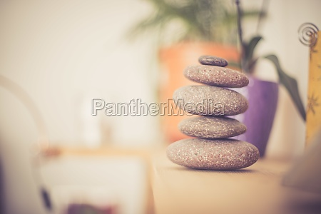 feng shui stone cairn in the