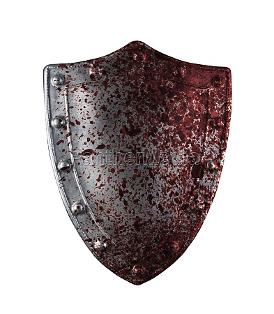 old medieval shield in blood isolated