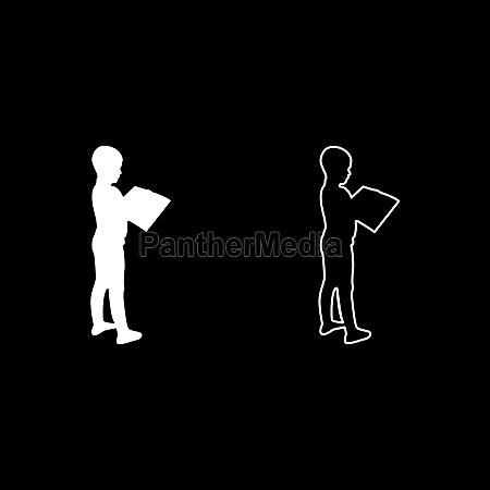 boy reading book standing teen male