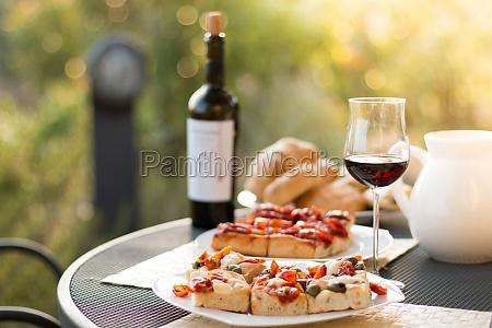 italian dinner red wine fresh tasty