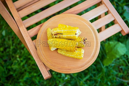 delicious sweet young grilled popcorn lies
