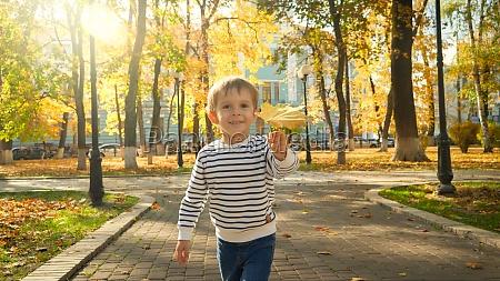 portrait of cute little boy holding