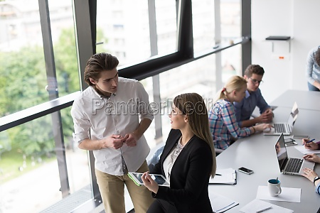 business people working with tablet in