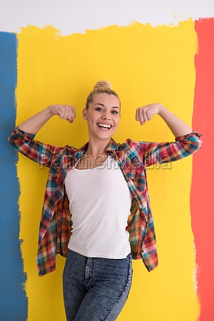 young woman over color background