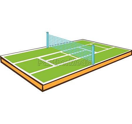 tennis court icon cartoon style