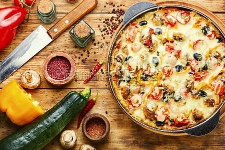 italian pizza on wooden board