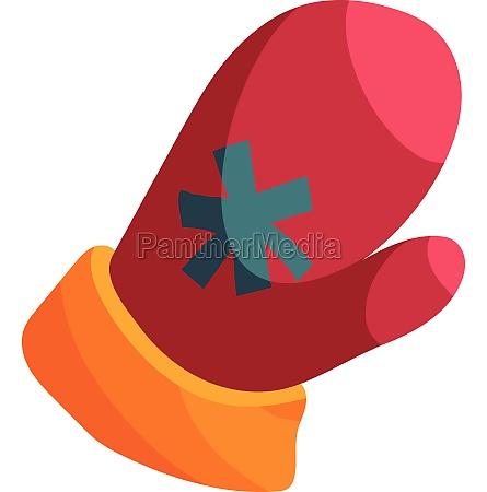 red santa mitten icon cartoon style