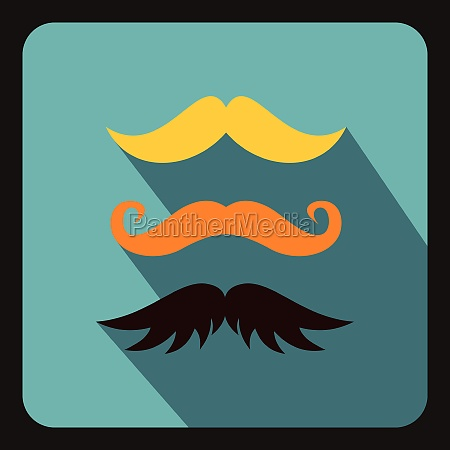 hipster mustache icon flat style