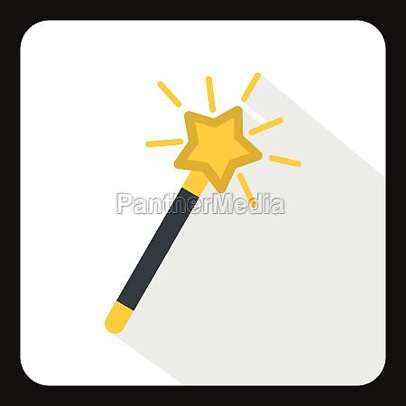 magic wand icon flat style