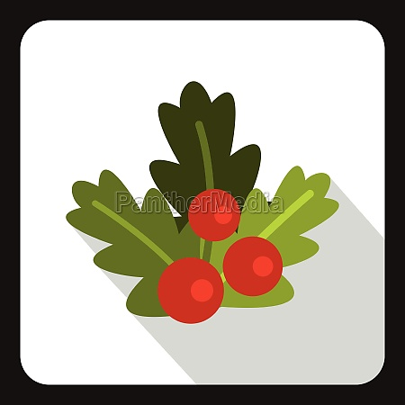 christmas berries icon flat style