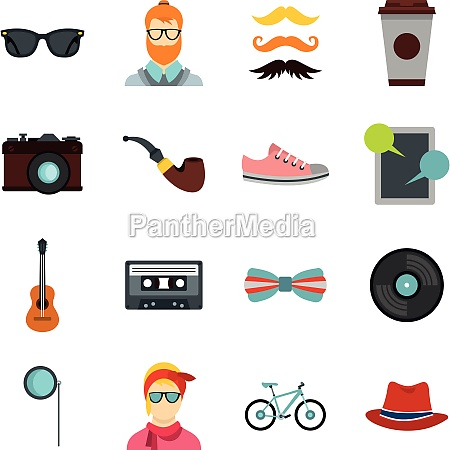 hipster icons set flat style