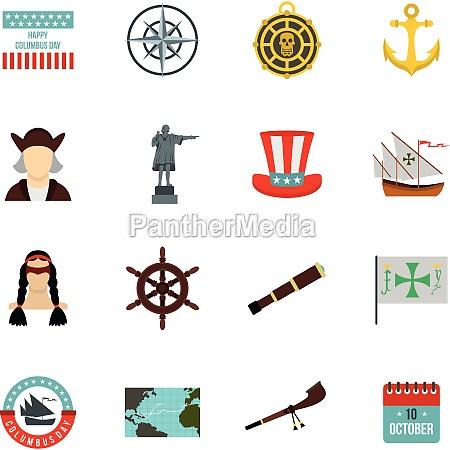 columbus day icons set flat style