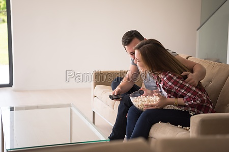 young handsome couple enjoying free time