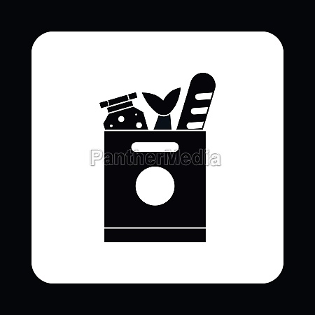 bag of groceries icon simple style