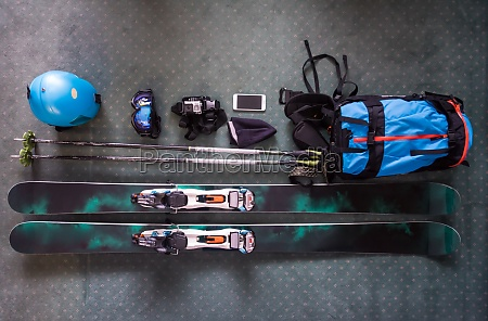top view of ski accessories