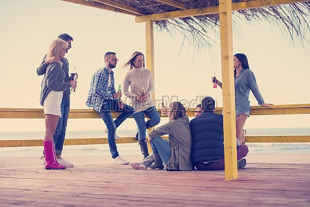 group of friends having fun on