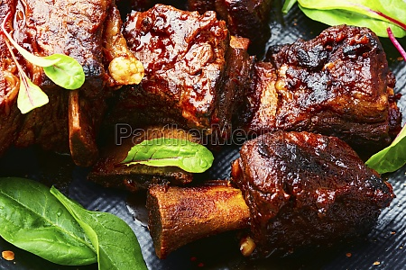 barbecue beef ribs wooden table