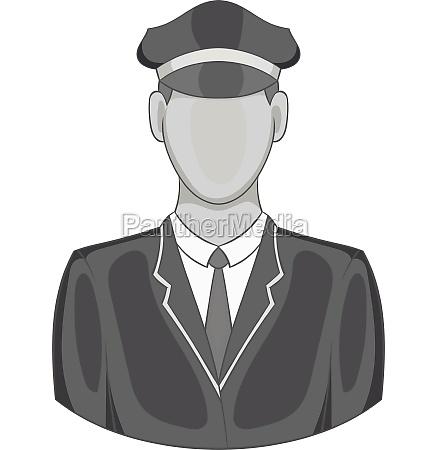 driver of train icon black monochrome