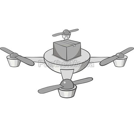 quadcopter icon black monochrome style